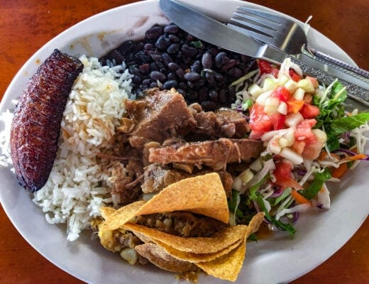 typical costa rican casado lunch.