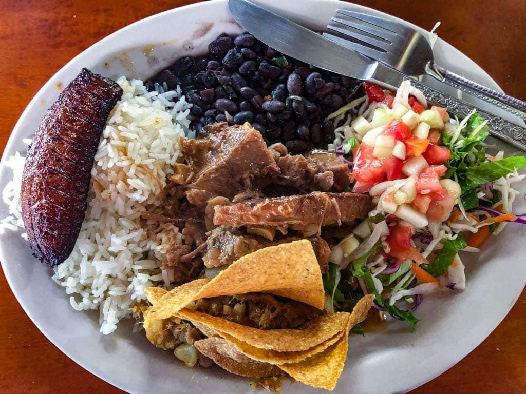 typical costa rican casado lunch.