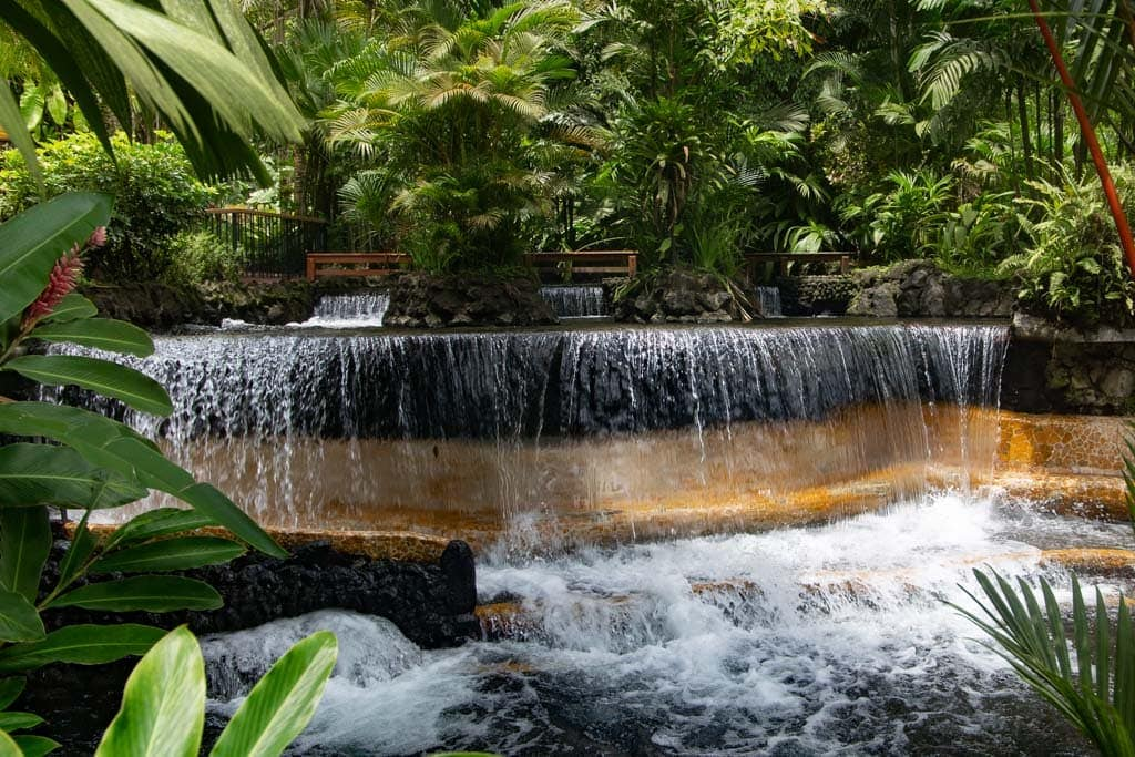 manmade hot springs waterfall in costa rica.