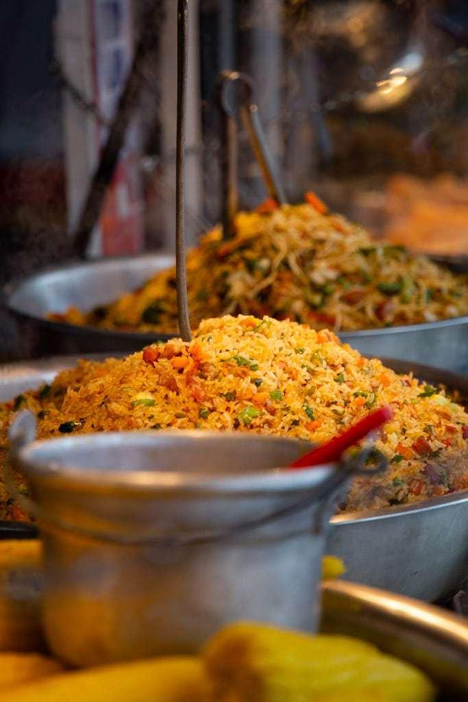 costa rican street food in steel bowls.
