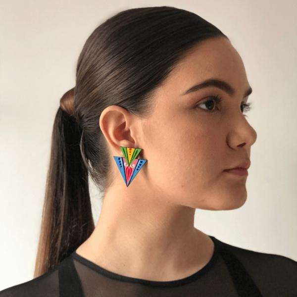 double triangle blue earring handmade in costa rica on woman.