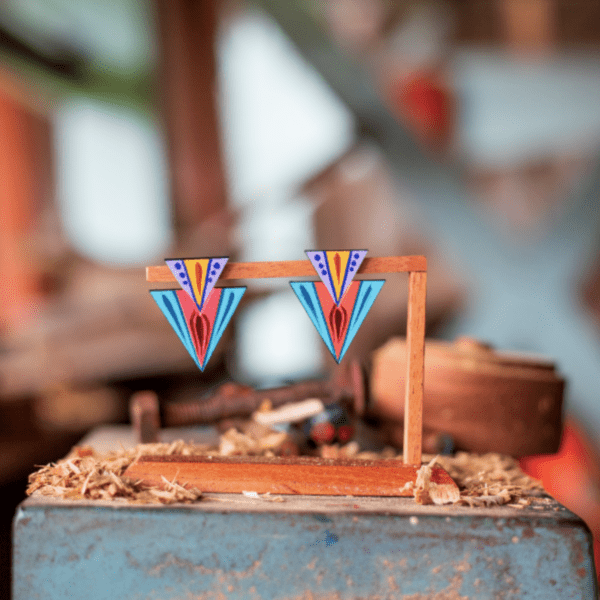 set of earrings turquoise, coral and purple handmade costa rica.