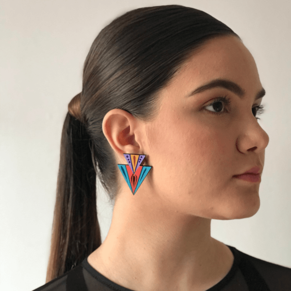 double triangle earring handmade in costa rica turquoise coral purple.