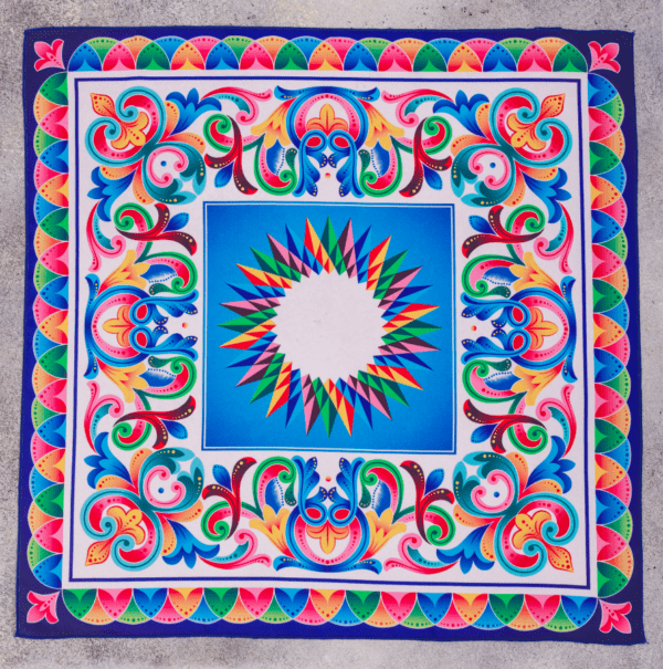 full image of rainbow and blue color patterned El Canto kerchief .