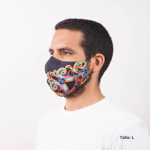 sideview of man wearing Costa Rican style mask with black and brightly colored design.