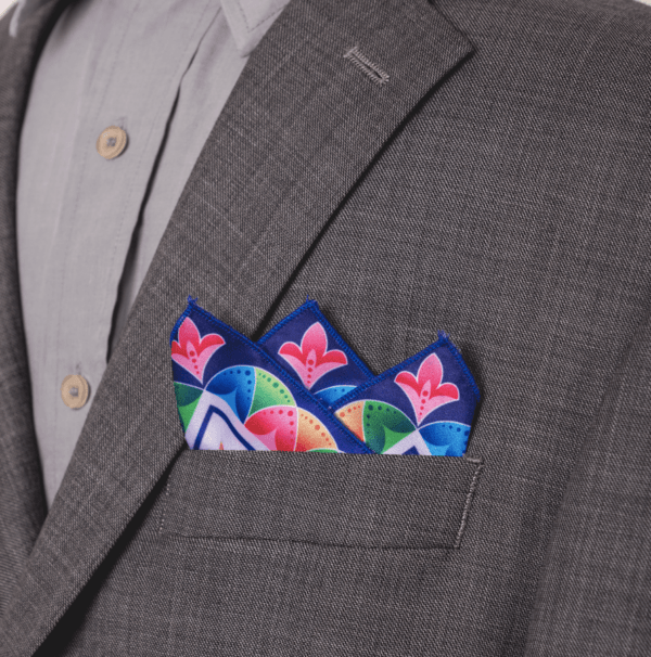 tri tipped pocket square El Canto brightly colored kerchief.