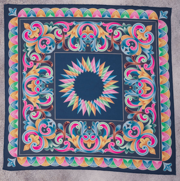 full size view of peacock blue and pastel colored El Canto Costa Rican handkerchief scarf.