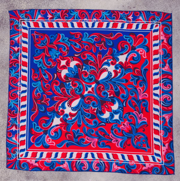 full size image of El Canto Costa Rican red and blue handkerchief scarf.