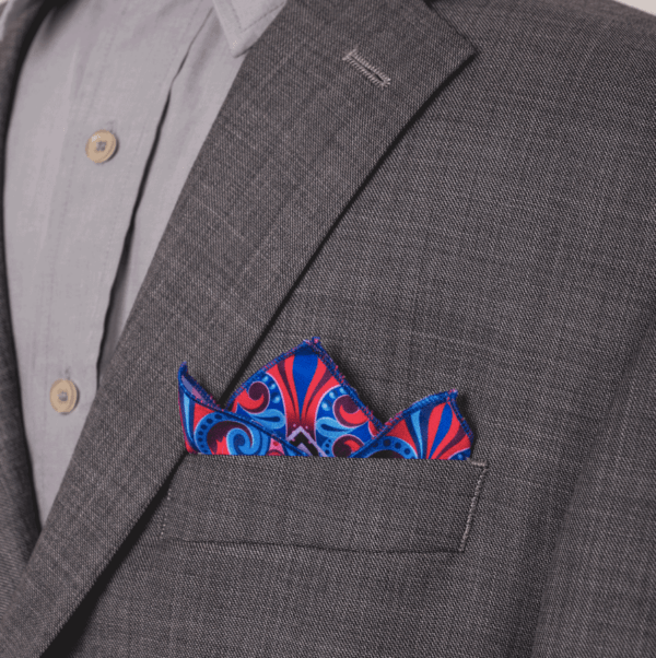 pocket square small handkerchief blue and red.