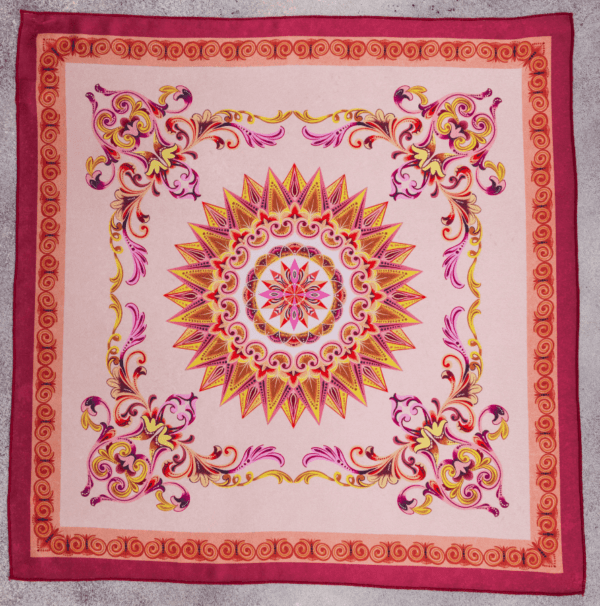 full size image of El Canto pink terracotta handkerchief scarf.