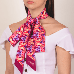burgundy wine and purple colored neck ribbon strip tie scarf.