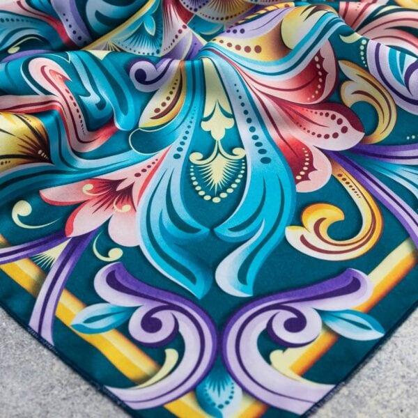 brightly colored corner of costa rican handkerchief.