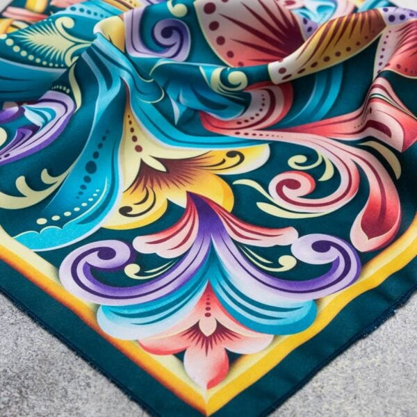 corner of costa rican turquoise handkerchief scarf.