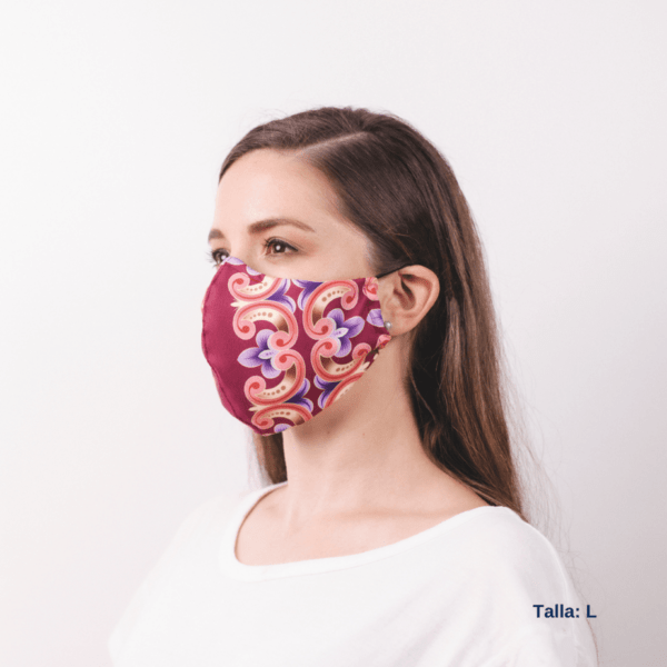sideview of woman wearing facemask with Costa Rican designs and colors.