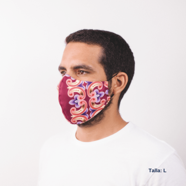 sideview of man of color wearing facemask with Costa Rican design and colors.
