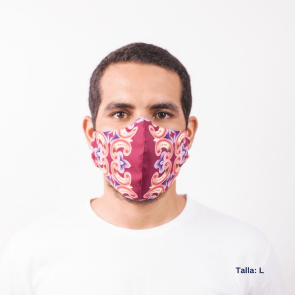 man wearing decorative face mask with Costa Rican art and colors.