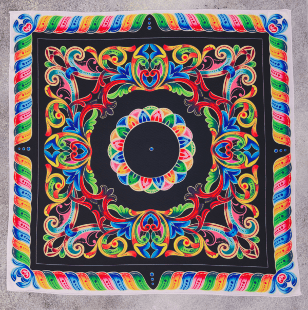 full photo image of black, white and bold colored El Canto handkerchief scarf.
