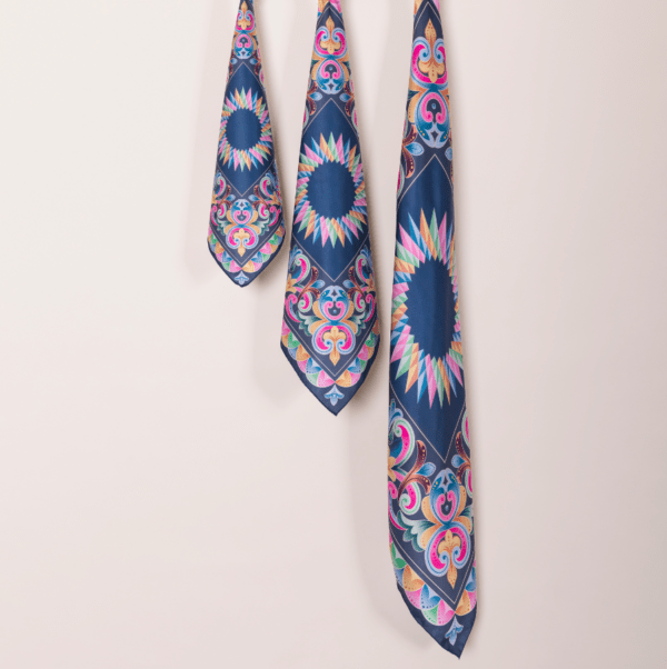 peacock blue pastel El Canto Costa Rican handkerchiefs in 3 sizes.