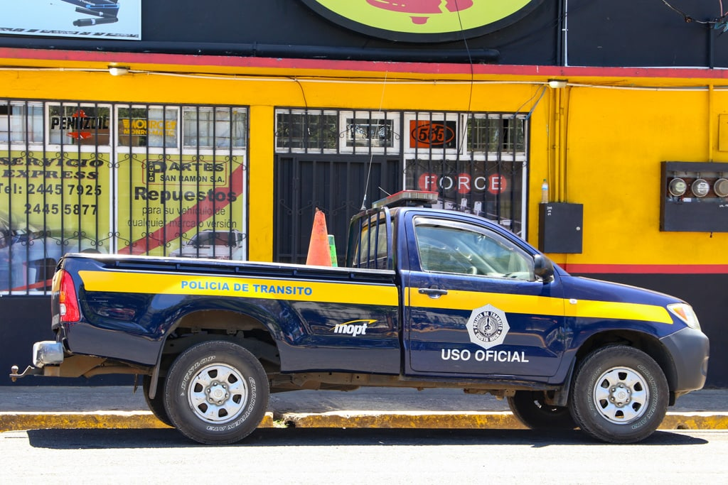 Police truck uso official in costa rica.