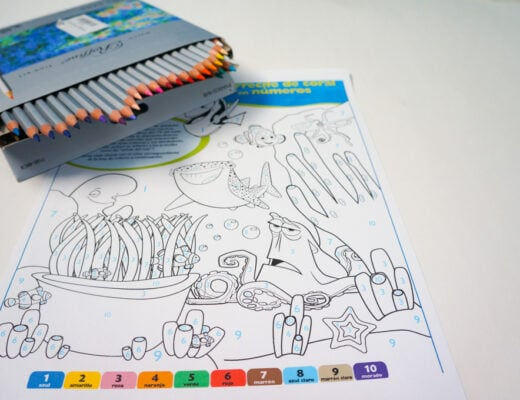 spanish finding dory coloring by number page.