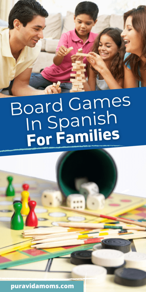 board games in Spanish for families pin