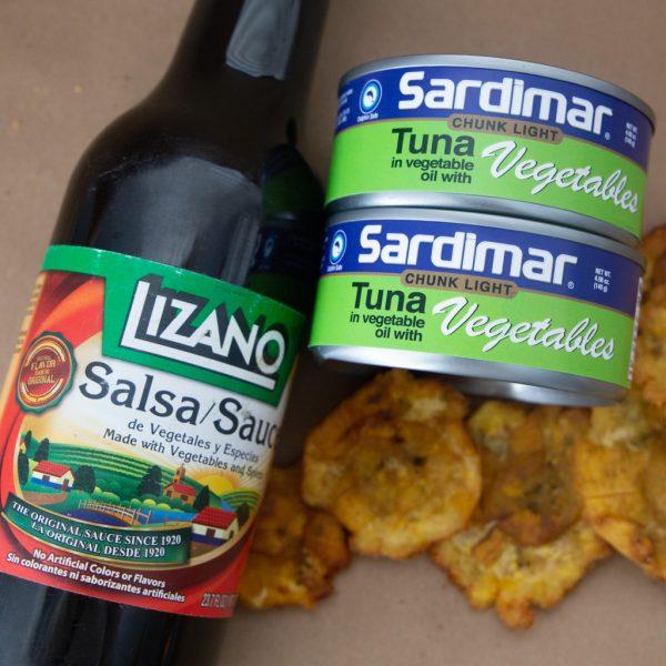atun con vegetales Saridmar y salsa lizano costa rica