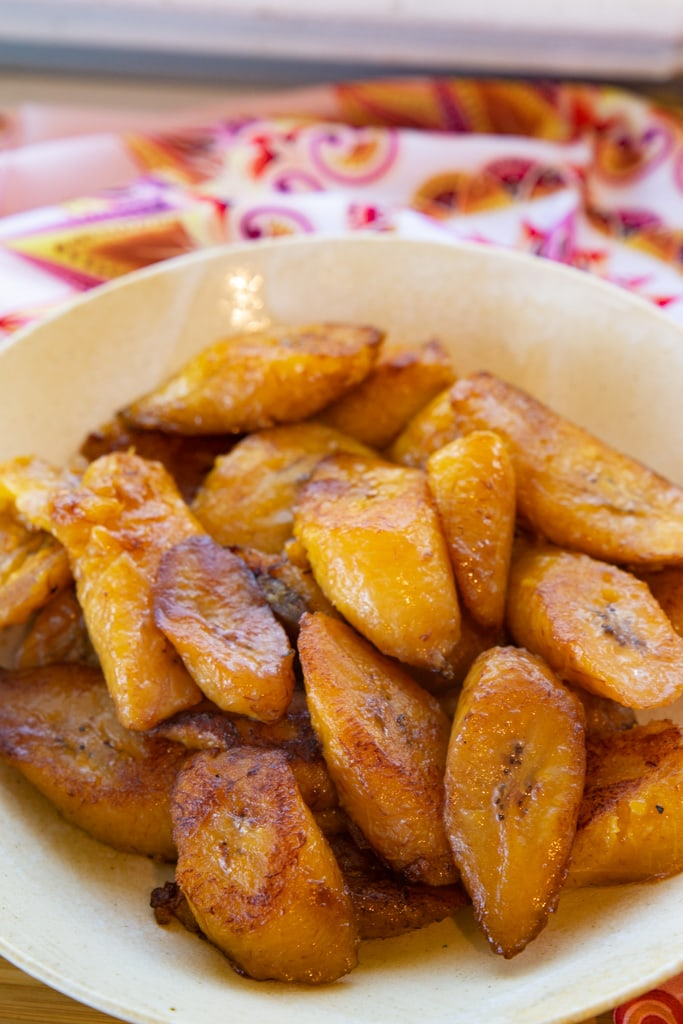 fried plantains in a white bowl
