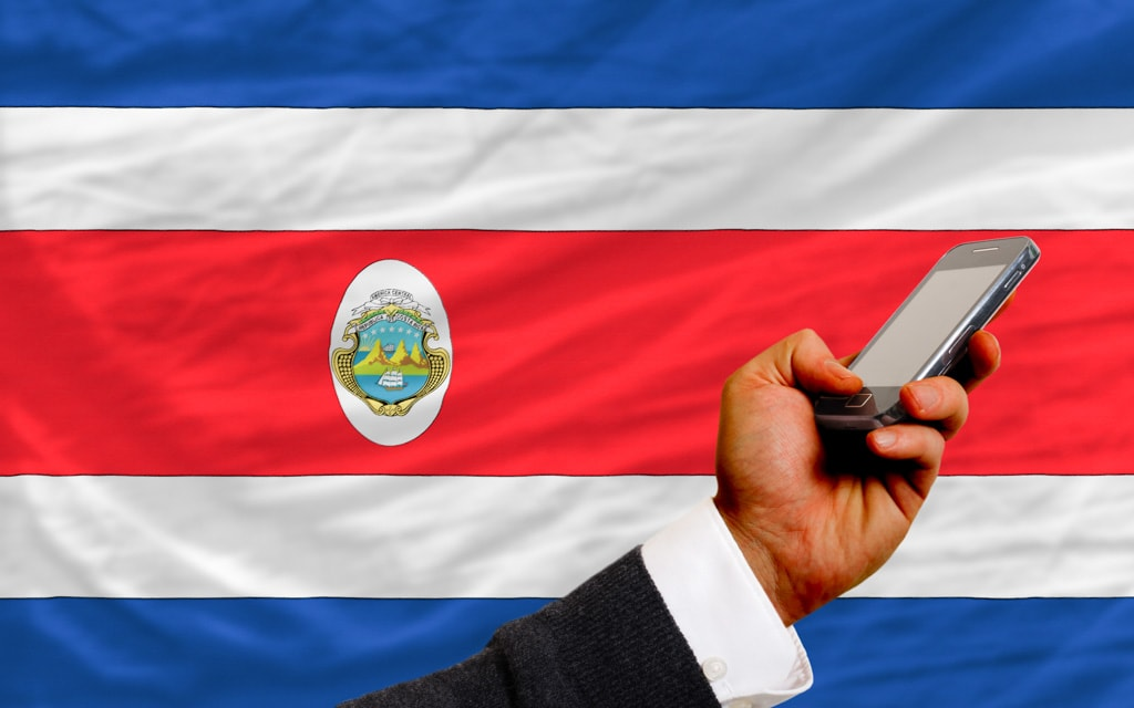 Costa Rican flag and a phone