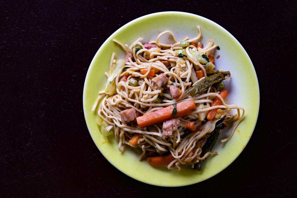 overhead shot of chop suey recipe