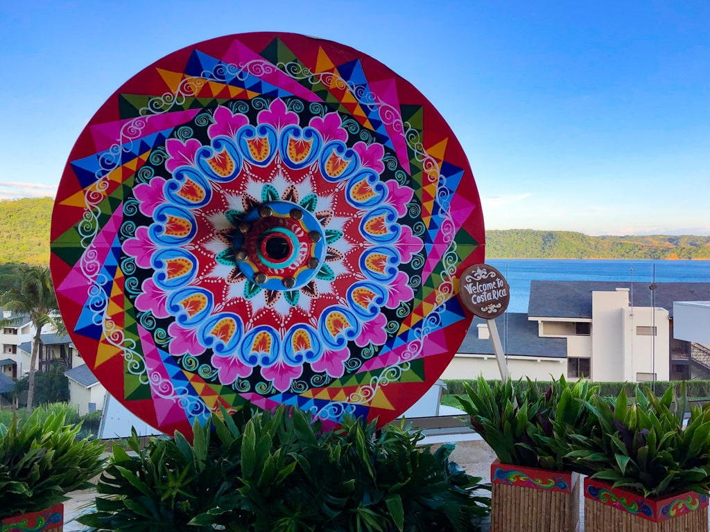 costa rican ox cart wheel painted