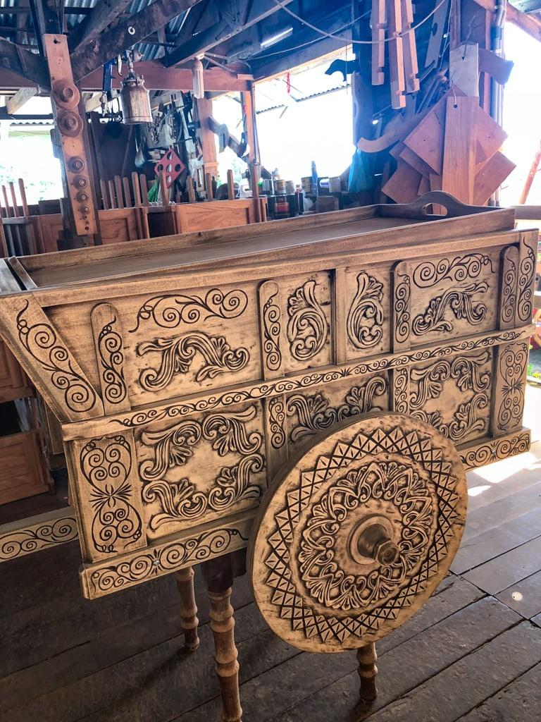 unpainted costa rican ox cart