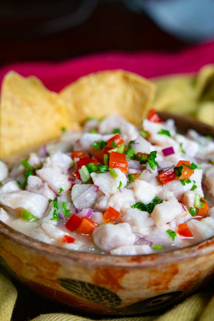 A couple of tortilla chips in the bowl of fish ceviche.