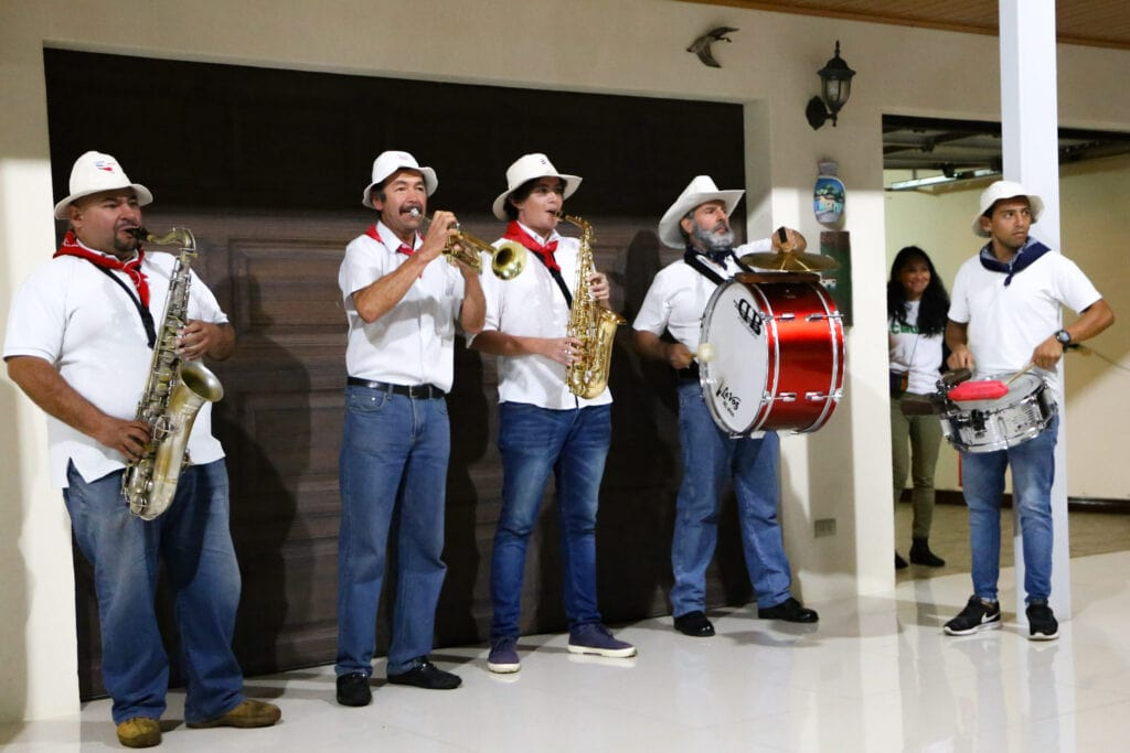 costa rican musical group at mask party for halloween